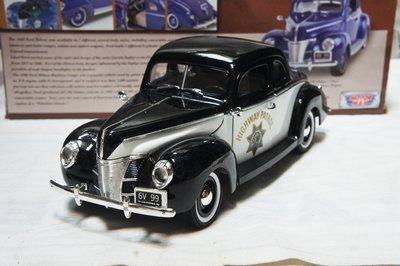 【現貨特價】1:18 MotorMax Ford Deluxe 1940 Highway Patrol 美國加州警車
