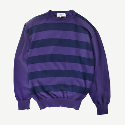 Louis Feraud PARIS sweater 茄子紫 M 圓領條紋針織毛衣 羊毛 Louis Féraud