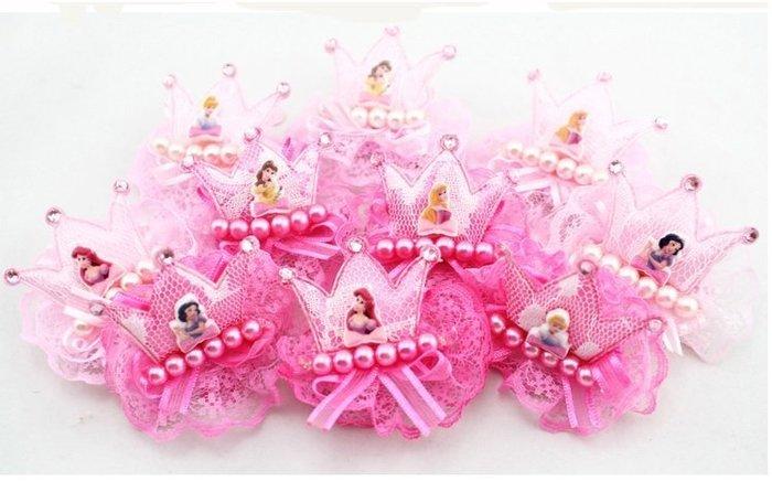 mandyshop【M2167】㊣ Disney 迪士尼公主系列皇冠蕾絲珍珠別夾 / 髮夾