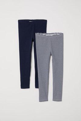 ╭♥︎喬喬屋♥︎╯[H&M]台北門市代買@童裝@ 小女童 有機棉深藍/條紋內搭褲 2入 1.5-10Y