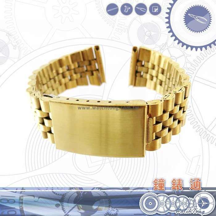 【鐘錶通】板折帶 金屬錶帶 B 60G - 18 / 20 mm 金色