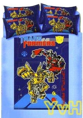 =YvH=單人床包 台灣製造正版授權~Transformers 變形金剛-大黃蜂 機器人 單人床包枕套組