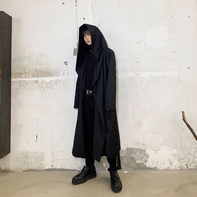 FINDSENSE 2019 秋冬上新 G19  連帽風衣長大衣中長款斗篷外套男裝百搭寬鬆休閒外套