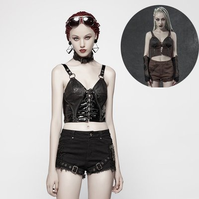 beauty女孩 PUNK RAVE rp朋克狀態女裝 賽博朋克&蒸汽朋克搖滾緊身小背心
