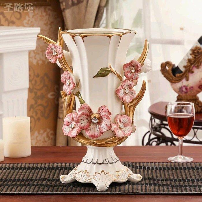 粉紅玫瑰精品屋~歐式高檔奢華象牙瓷花瓶