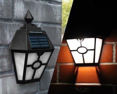 ~四月科技能源~光控復古六角壁燈太陽能燈 歐式太陽能籬笆燈 庭院燈戶外燈 黑  A0103