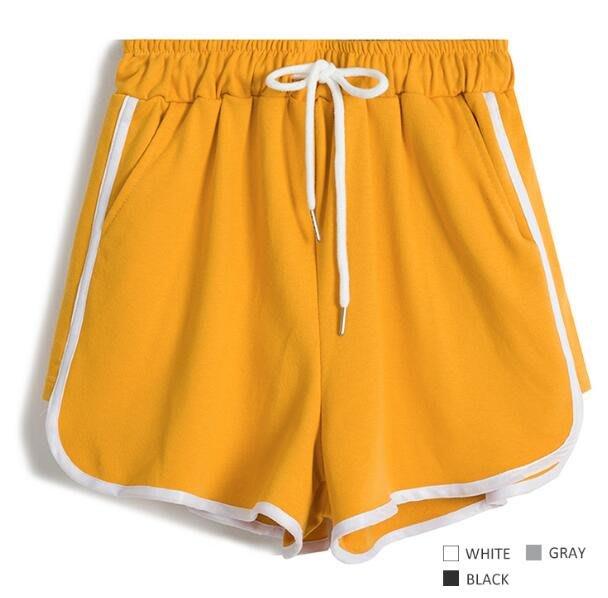 短褲 寬褲 休閒短褲 減齡系列,側條紋開口系帶棉質運動褲系帶寬松休閑沙灘褲 熱褲—莎芭