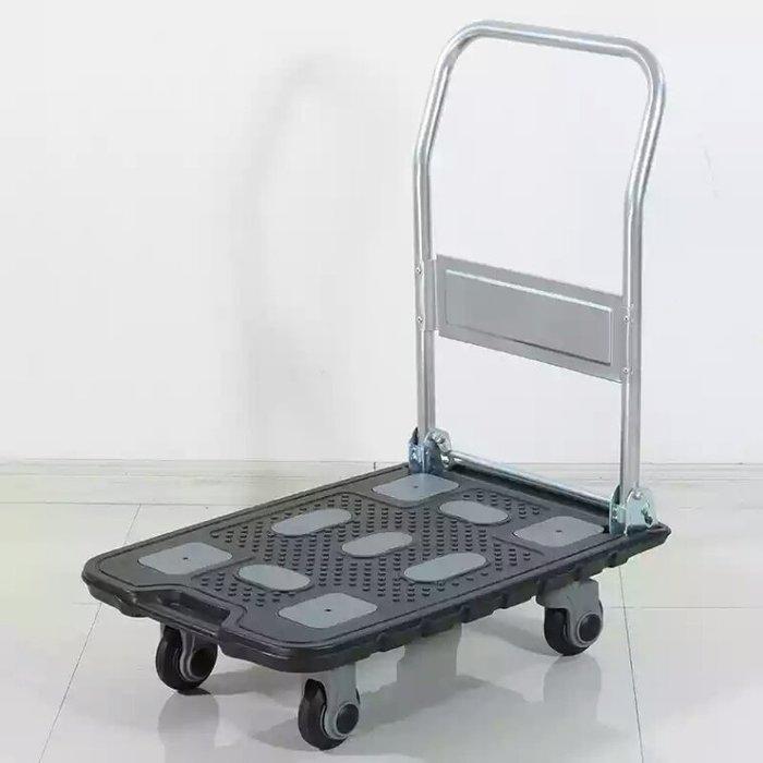 22# 日本技術 超靜音手推車,75*50*12.5cm載重150公斤,4輪省力塑鋼平板車拖車搬家送貨
