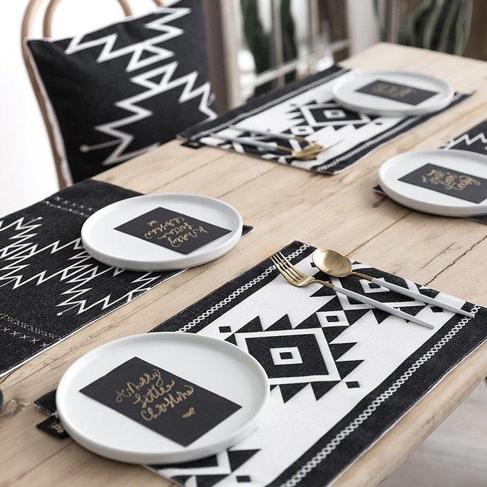 MAJPOINT*餐墊 桌布 桌巾 桌旗 西餐 北歐INS 隔熱墊 杯墊 雙層加厚 幾何 藝術 簡約波西米亞 野餐 派對