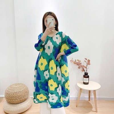 蝙蝠袖洋 裝 連身 長裙-印花寬鬆壓褶時尚女裙子73yf5[獨家進口][米蘭精品]