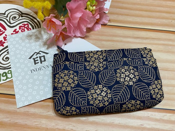 美家園日本生活館 日本製 印傳屋鹿皮 拉鏈零錢包 藍A款