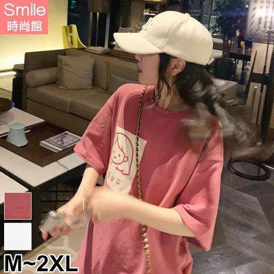 【V3108】SMILE-極簡休閒.可愛卡通印花圓領寬鬆中長袖上衣