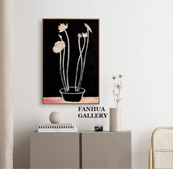C - R - A - Z - Y - T - O - W - N 常玉花瓶盆栽藝術裝飾畫小眾版畫當代藝術油畫常玉作品掛畫藝術大師名畫收藏畫植物花卉蓮花版畫牆畫