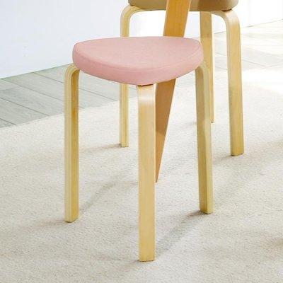 店長嚴選軟包可疊放時尚板凳餐桌凳 創意家用實木凳子成人曲木矮凳