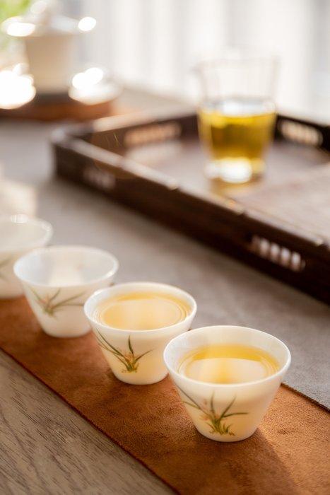 【茶嶺古道】手繪白瓷薄胎 斗笠杯 / 白瓷 薄胎 茶杯 品飲杯 飲杯 品茗杯 茶藝用品 功夫茶具
