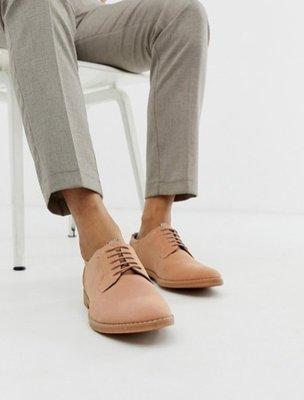 ◎美國代買◎ASOS代買鞋帶鞋面車線裝飾英倫休閒時尚街風粉色鞋帶皮鞋~歐美街風~大尺碼~