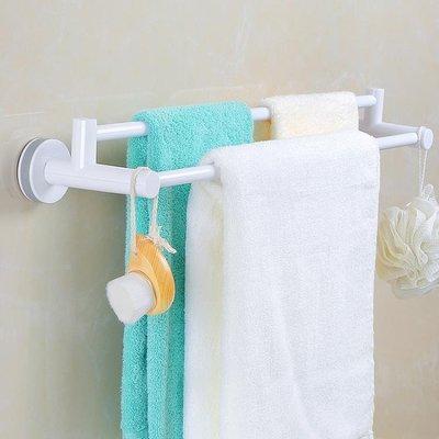 居家家吸盤雙桿毛巾架浴室浴巾架衛生間免打孔無痕毛巾桿抹布掛架
