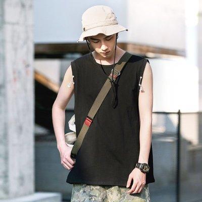 DUMB夏裝歐美潮流簡約創意抽繩無袖背心男士運動t恤純色打底汗衫