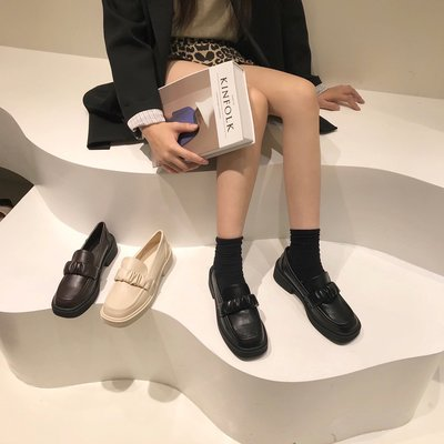 Tery正韓女鞋厚底小皮鞋女2021年新款秋季英倫風一腳蹬樂福鞋jk百搭黑色單鞋子