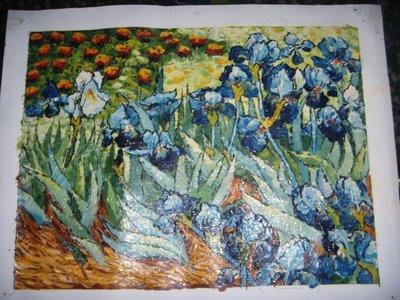 『百花爭寵』手工油畫原作無框長寬約48x38公分最華麗突出的一幅油畫