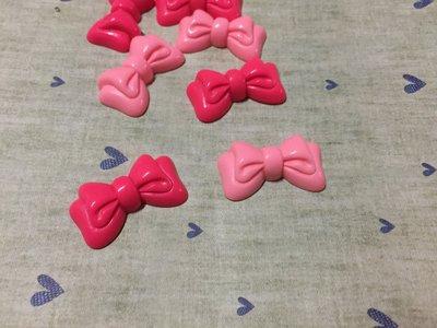 33mm*20mm 粉紅 桃紅 雙緞帶蝴蝶結 造型DIY素材 奶油殼 貼鑽小物 飾品材料 (現貨)