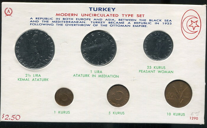 【套幣】Turkey (土耳其)  1965年 6枚全套,品相全新UNC #190898