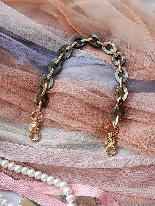 淘淘樂-元氣仙女手工定制鏈條新款女包配件手提鏈亞克力樹脂包帶金屬鏈條