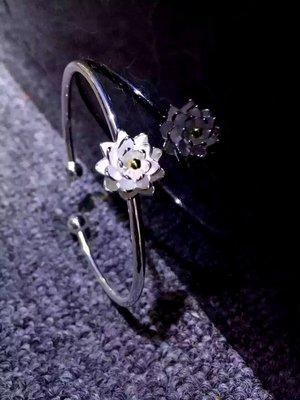 (瑪奇亞朵的珠寶世界)超美荷花款銀手鐲...