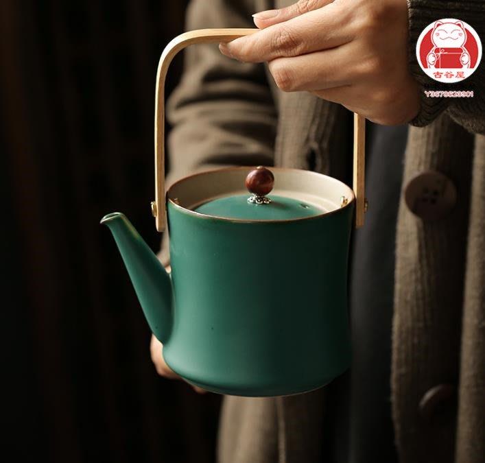 創意竹節壺 功夫茶具 日式復古提梁壺陶瓷大容量茶壺功夫茶具泡茶壺單壺創意竹節壺