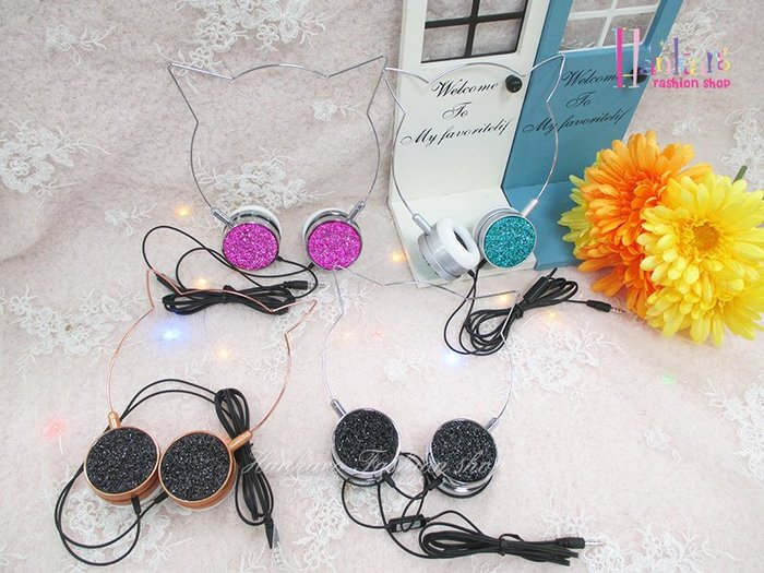 ☆[Hankaro]☆歐美流行貓耳造型頭戴式有線耳機