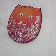 皮革雕花 花團錦簇貓頭鷹隨身鏡 貼身鏡 佰渡工坊-臺中市愛無礙協會