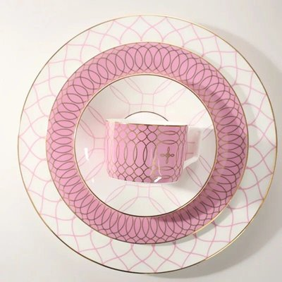 浪漫粉陶瓷盤創意裝飾骨瓷菜盤西餐餐具咖啡杯碟8寸圓盤西餐盤蛋糕盤居家裝飾 Wedgwood zakka