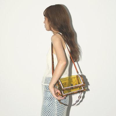 [全新轉賣] Casselini 2way琥珀黃透明郵差方包/肩背包/手提包(CONTROL FREAK)