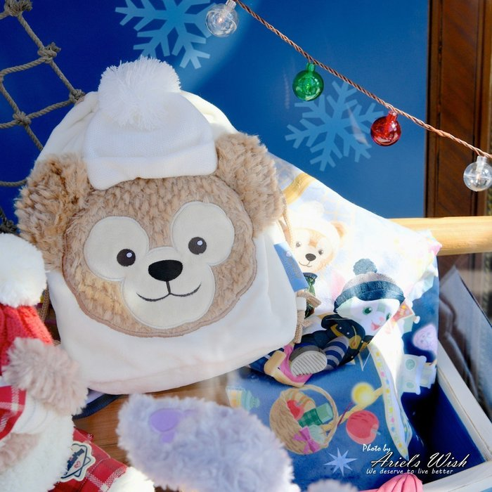 ArielWish日本東京迪士尼聖誕節達菲熊Duffy雪莉玫傑拉東尼Stella史黛拉兔兔毛毯冷氣毯蓋毯附束口收納袋絕版