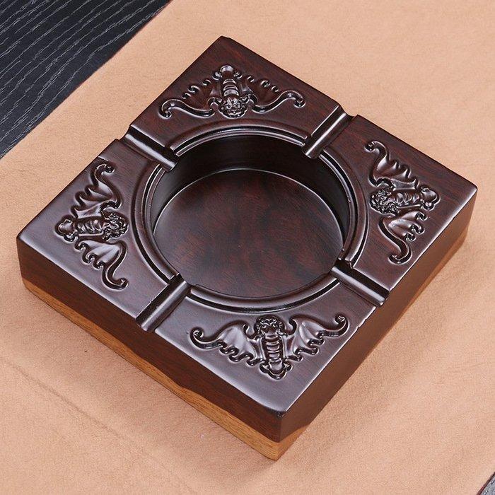 黑檀實木煙灰缸高檔原木手工精雕辦公禮品煙缸商務煙灰缸P1012