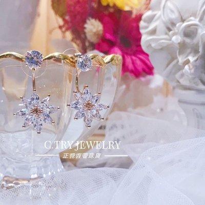💎1134、韓式淨透閃耀全鑽雛菊後掛式耳環💎正韓飾品 耳環 珠寶 925純銀針 ED068