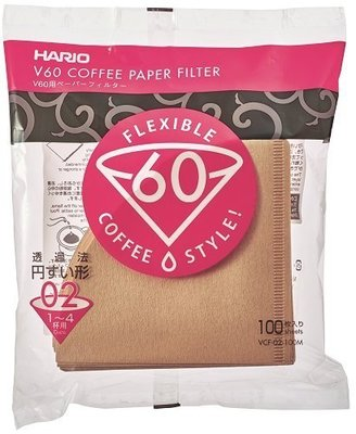 HARIO濾紙  VCF-02-100 V60手沖式錐型無漂白濾紙100入(1-4人份)-【良鎂咖啡精品館】