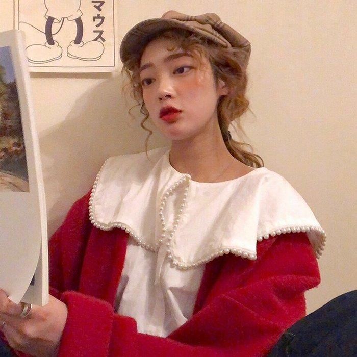 小香風 短袖T恤 時尚穿搭 韓版 chic寬松 娃娃領 珍珠白襯衣學生休閑長袖打底衫襯衫上衣女
