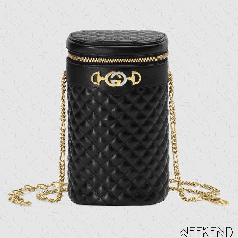 【WEEKEND】 GUCCI Quilted Leather 皮革 圓筒 腰包 肩背包 黑色 19春夏 572298