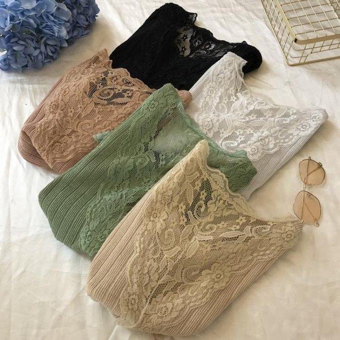2019夏季新款V領短袖亮絲針織衫女修身蕾絲拼接性感露背打底衫T恤