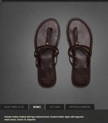 美國Abercrombie & Fitch 女裝classic flip flops S號Brown深咖啡皮革夾拖含運