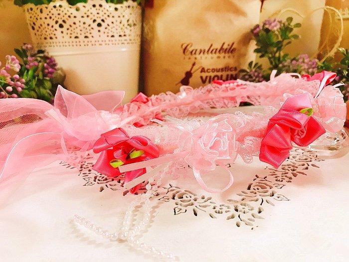 【華蕊】* C款粉嫩小花兒童頭紗 * 髮圈 小花童 公主頭紗 甜美 可愛 蕾絲 花環