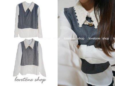 lovetone shop 【S10002】花花領雪紡襯衫拼接 棉麻公主袖上衣-深灰-