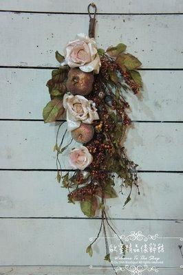 ~*歐室精品傢飾館*~ 人造花花藝設計~粉玫瑰吊飾.掛飾~新款上市~