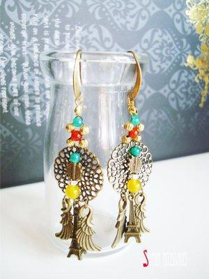 Sophia accessories 【 展翅巴黎 】 歐式復古耳環 手作&私飾  輕珠寶 黃銅飾品