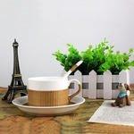 1【瓷胎竹編-咖啡杯套裝-160ml-杯*1+盤*1+勺*1-3件/套-1套/組】竹與瓷特色竹編(含禮盒)-35005