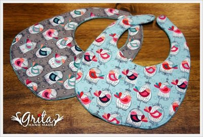 ♥grita's handmade♥純棉手作嬰幼兒圍兜兜/領巾/口水巾/三角巾/彌月禮—鳥籠小鳥