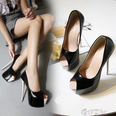 夏超高跟20cm細跟22cm魚嘴單鞋性感夜店女鞋恨天高16cm