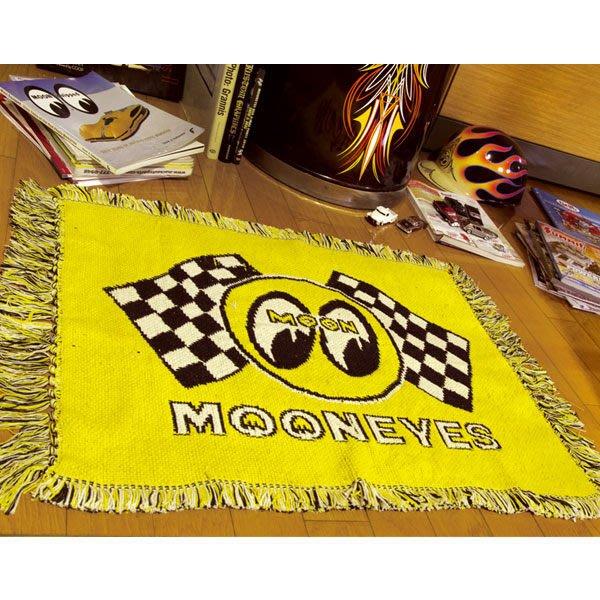 (I LOVE樂多)MOONEYES賽車方格期長型地毯(黃底) 打造個性部屋自己來