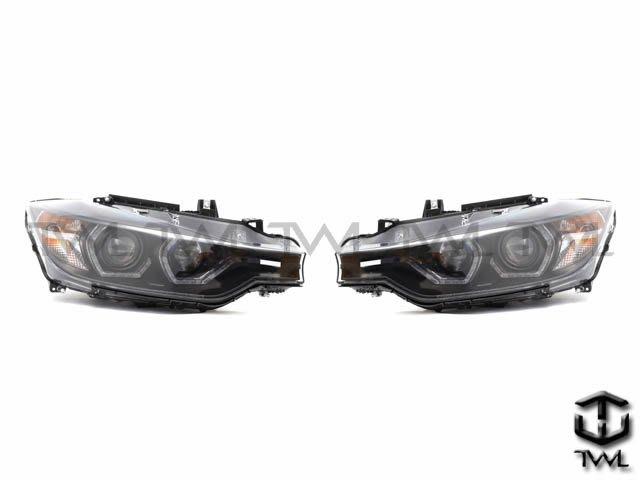 《※台灣之光※》全新BMW 12 13 14 15 16年 F30 328美規鹵素升級黑底LED雙光版魚眼光圈投射大燈組